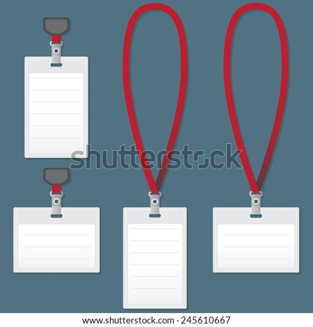 Lanyard with Tag Badge Holder. Vector Illustration. - stock vector