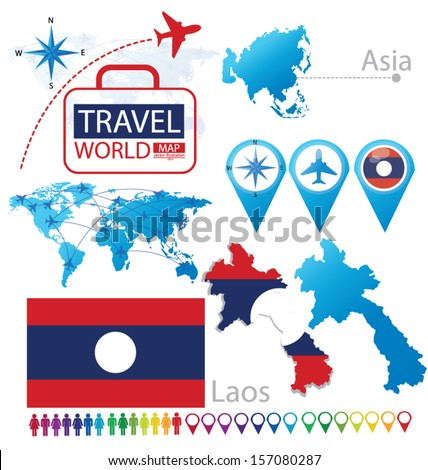 Laos. flag. Asia. World Map. Travel vector Illustration. - stock vector