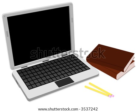 Laptop and Books - stock vector