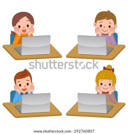 Laptop and children - stock vector