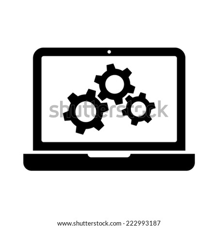 laptop and gears vector icon - stock vector