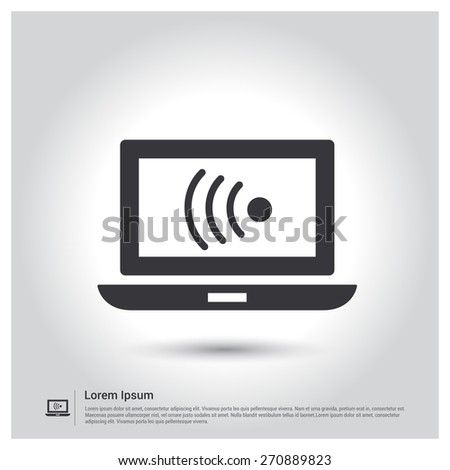 Laptop and wireless network. Wireless concept Icon, Vector illustration for web, site, mobile application. Simple flat metro design style. Outline Icon. Flat design style - stock vector