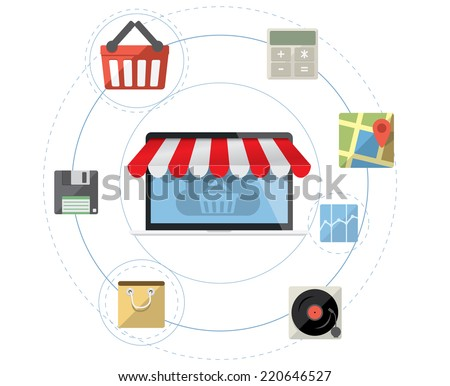 Laptop as online store - Mobile shopping concept vector with flat icon set - stock vector