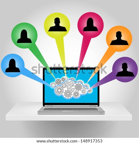 laptop computer and social media - stock vector