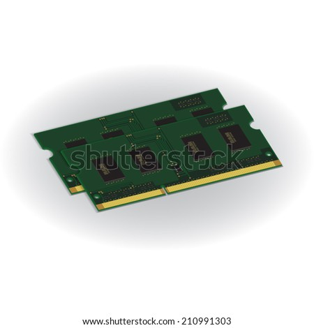 Laptop Computer RAM (Random-Access Memory) Chip Isolated on White Background. RAM Memory Module. Vector Illustration. - stock vector