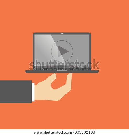 laptop computer watch movie player. laptop on hand. flat design - stock vector