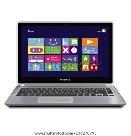 Laptop computer with metro icons on display isolated on white background. Vector. - stock vector