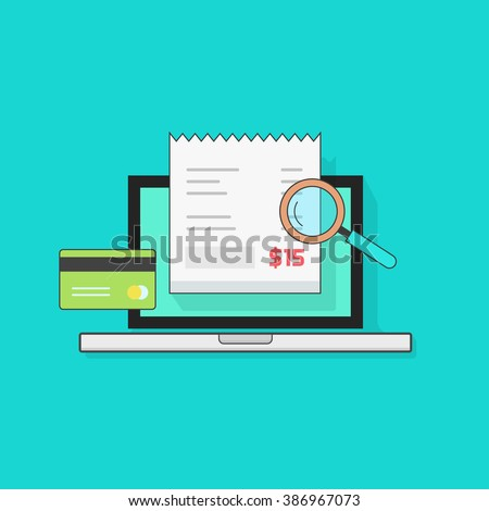 Laptop computer with receipt, credit card, magnifier, concept of bills payment, verify, tax online check, audit, invoice, verification, vector illustration modern design isolated on blue background - stock vector