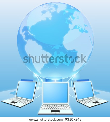 Laptop computers connected via world globe network internet computing concept - stock vector