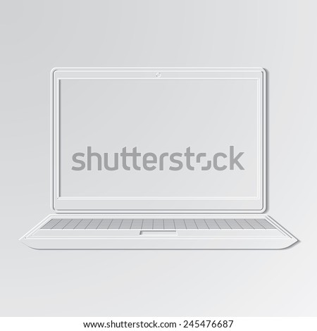 Laptop cut out icon on paper background. - stock vector