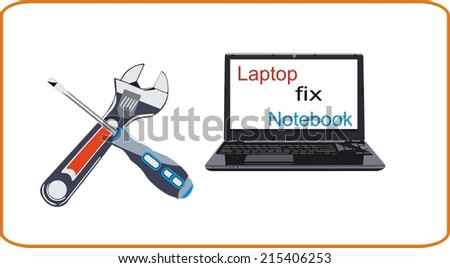 laptop fix - stock vector
