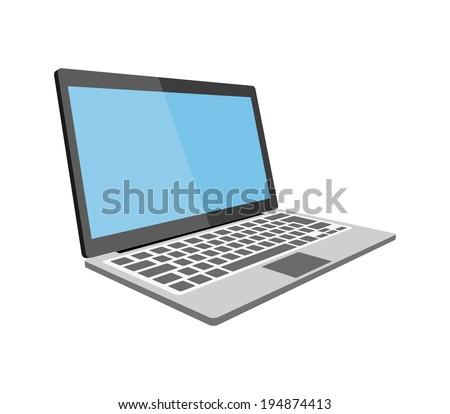 Laptop flat illustration eps10 - stock vector