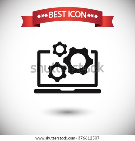 Laptop gears icon vector, Laptop gears icon eps10, Laptop gears icon picture, Laptop gears icon flat, Laptop gears icon, Laptop gears web icon, Laptop gears icon art, Laptop gears icon drawing - stock vector
