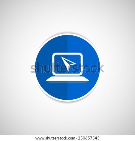 Laptop Icon  Button with Metallic Rim Original Illustration - stock vector