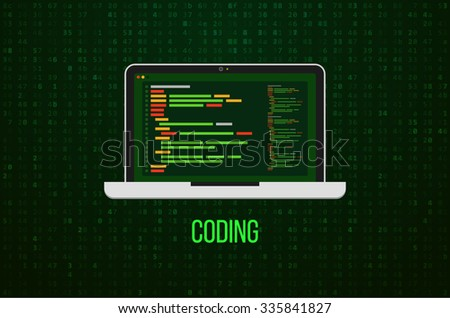 Laptop Icon on Matrix Background. Flat design. Vector illustration. Web developer coding concept. - stock vector