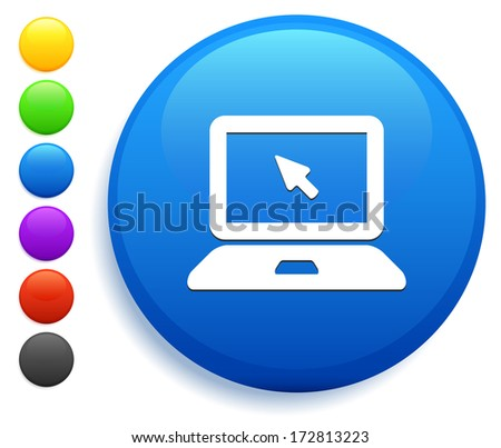 Laptop Icon on Round Button Collection - stock vector