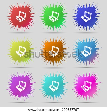 Laptop icon sign. A set of nine original needle buttons. Vector illustration - stock vector