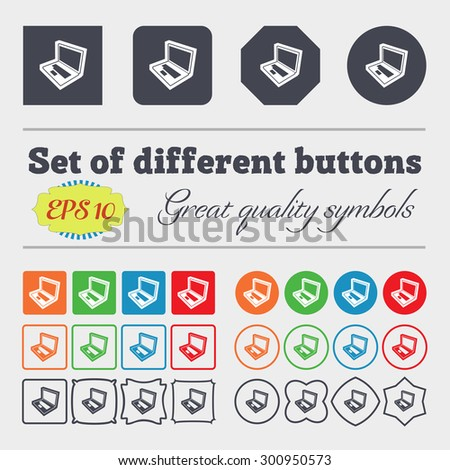 Laptop icon sign. Big set of colorful, diverse, high-quality buttons. Vector illustration - stock vector