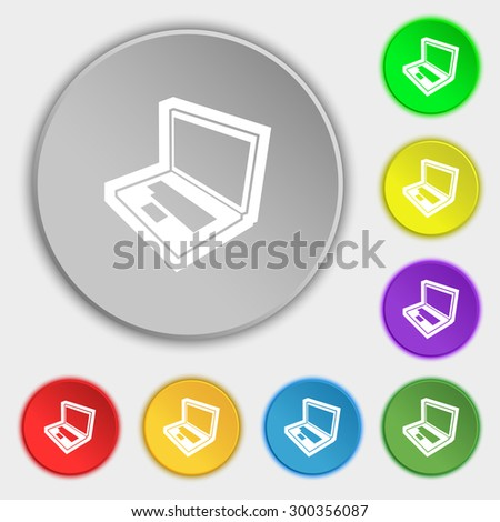 Laptop icon sign. Symbol on eight flat buttons. Vector illustration - stock vector