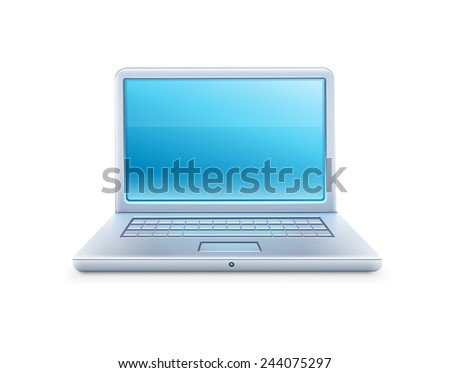 Laptop icon with blue empty screen. Eps10 vector illustration. Isolated on white background - stock vector