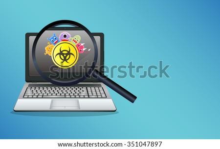 laptop infected virus computer - stock vector