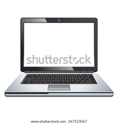 Laptop isolated on white - stock vector