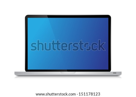 Laptop isolated on white background - Vector illustration - stock vector