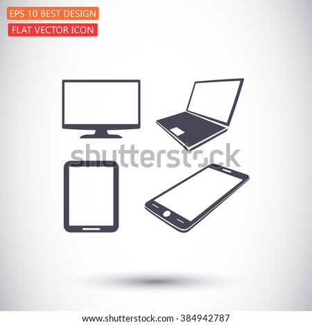 Laptop, mobile phone, tablet and monitor icon set, Vector  Eps 10  - stock vector