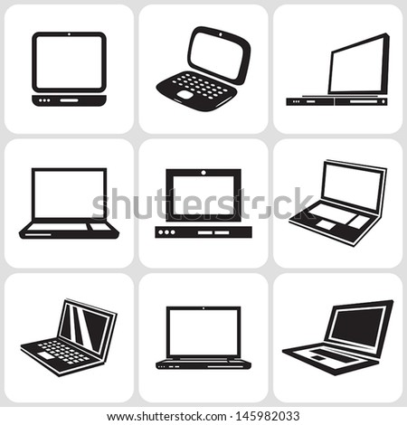 laptop notebooks icons set - stock vector