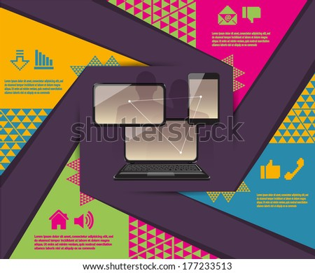 laptop phone tablet Connection infographic - stock vector