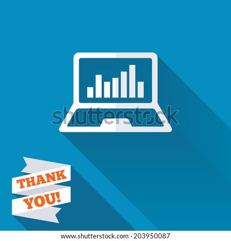 Laptop sign icon. Notebook pc with graph symbol. Monitoring. White flat icon with long shadow. Paper ribbon label with Thank you text. Vector - stock vector