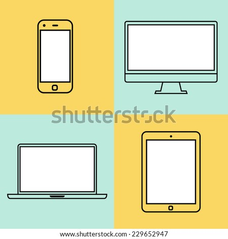 Laptop, tablet computer, monitor and smartphone flat design template elements for web and mobile applications. Stroke thin line flat minimalistic style. Vector illustration eps10 - stock vector