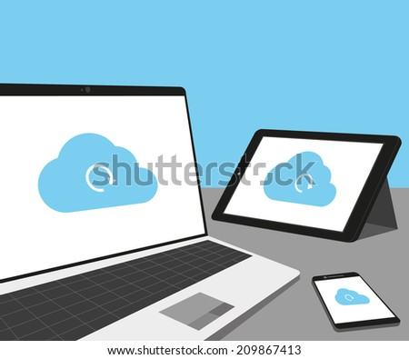 Laptop, tablet pc and smartphone with cloud sync. - stock vector