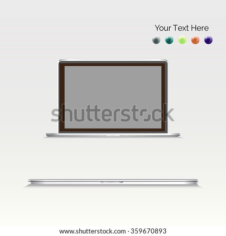 Laptop vector illustration with blank screen isolated on gray background, white aluminium  body. Open and closed laptop. - stock vector