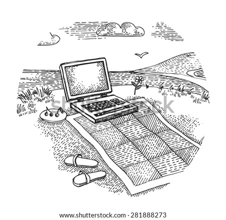 Laptop with a blanket - stock vector