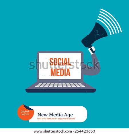 Laptop with a megaphone promoting social media. Vector illustration Eps10 file. Global colors. Text and Texture in separate layers. - stock vector