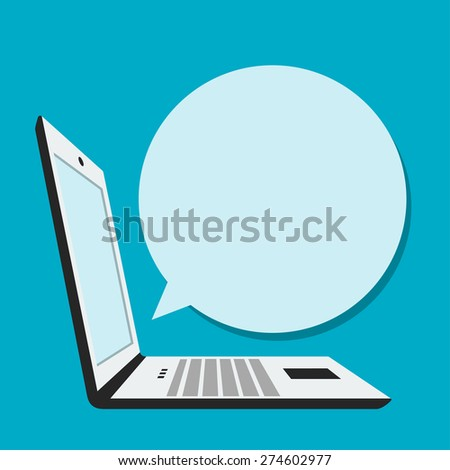 Laptop with blank bubble speech in flat style - stock vector