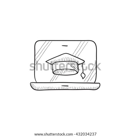 Laptop with graduation cap on screen vector sketch icon isolated on background. Hand drawn Laptop with graduation cap icon. Laptop with graduation cap sketch icon for infographic, website or app. - stock vector