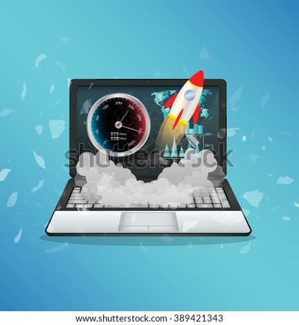 laptop with hi speed internet - stock vector