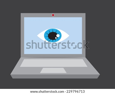 Laptop with large eye and webcam  - stock vector