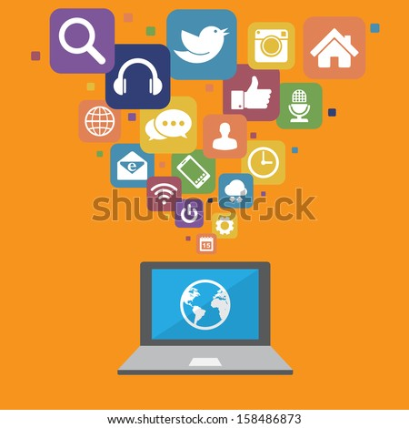 Laptop with social media icons.Elements of this image furnished by NASA - stock vector