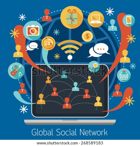 Laptop with Social Network Icons, Social Network Concept, Media, Business Marketing - stock vector