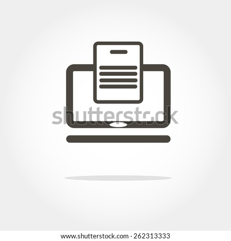 laptop with the file Icon, minimum points, clean work, vector illustration - stock vector