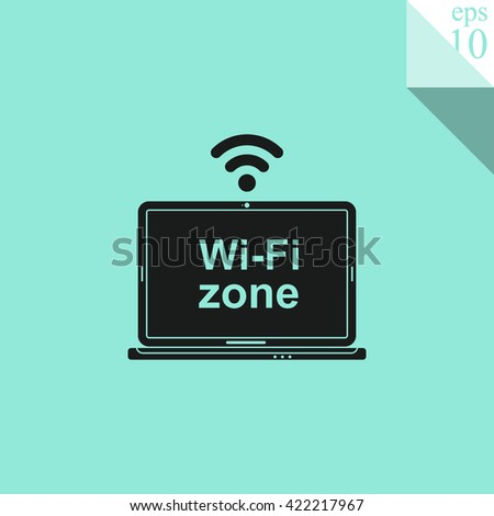 Laptop with Wi-Fi zone Icon. Laptop with Wi-Fi zone Icon Vector. Laptop with Wi-Fi zone Icon Sign. Laptop with Wi-Fi zone Icon Picture. Laptop with Wi-Fi zone Icon Image. - stock vector