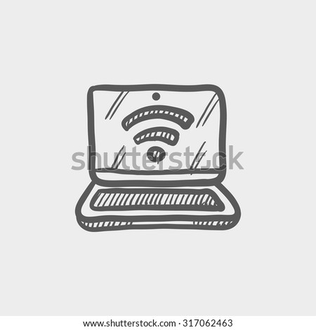 Laptop with wifi sign sketch icon for web, mobile and infographics. Hand drawn vector dark grey icon isolated on light grey background. - stock vector