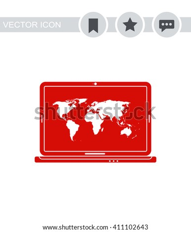Laptop with world map Icon. - stock vector