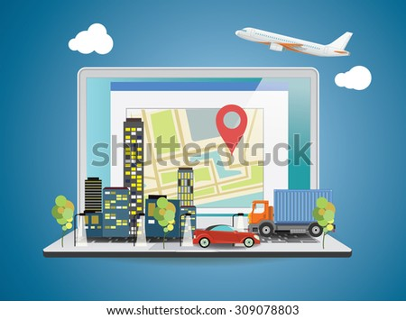 Laptop with World map on screen. Travel concept. Vector illustration. - stock vector
