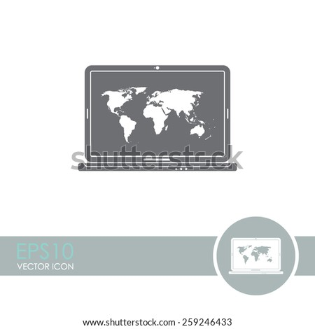 Laptop with world map vector icon. - stock vector