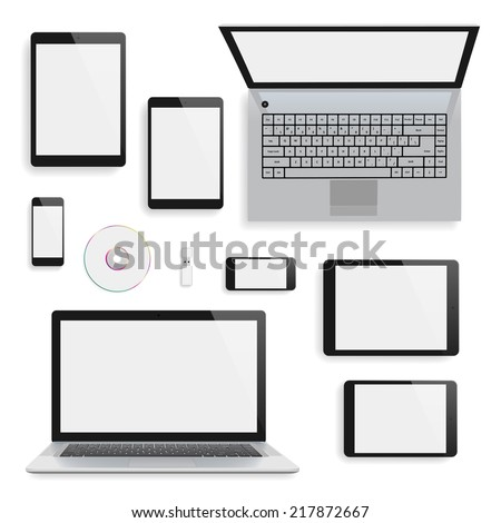 Laptops, tablets and smartphones blank mock-up. Vector eps10 with transparency. - stock vector