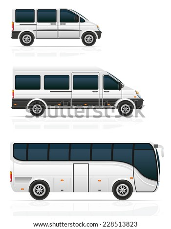 large and small buses for passenger transport vector illustration isolated on white background - stock vector